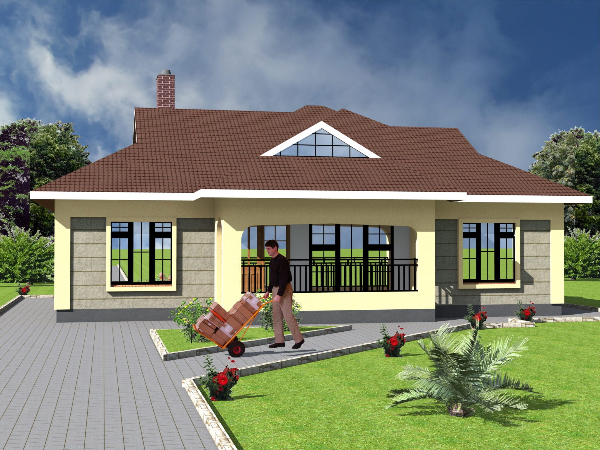 Modern 3 Bedroom Bungalow House Plan | HPD Consult