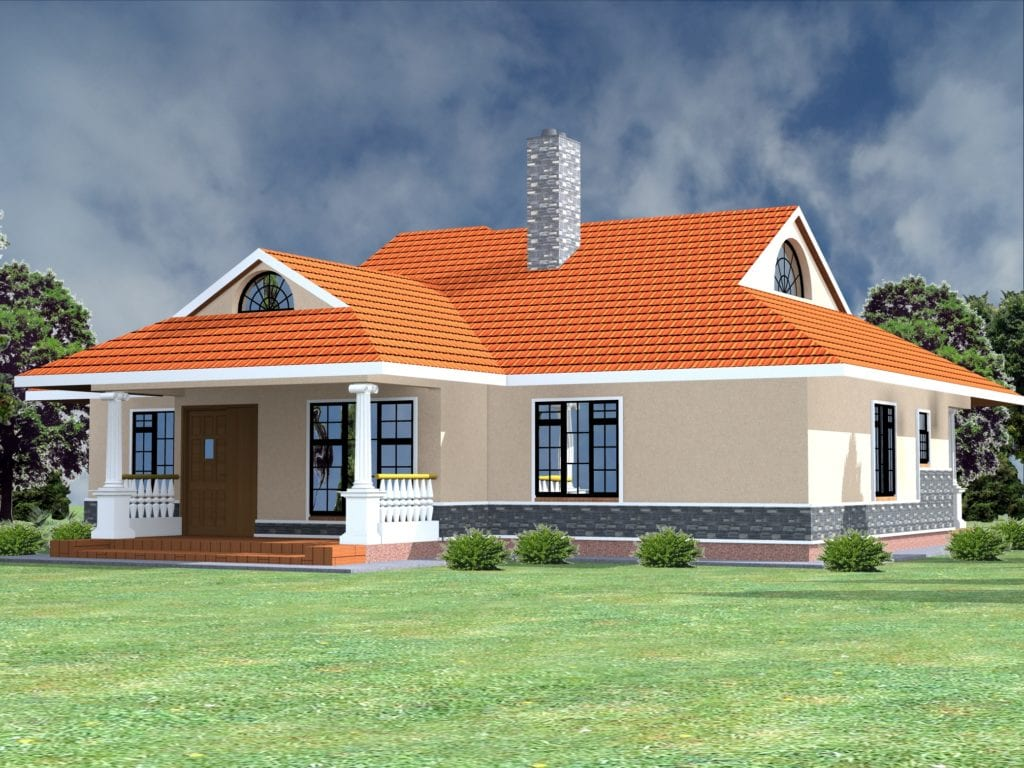 1061 B 61 RENDER 4 1024x768 - 50+ Modern 3 Bedroom House Plans In Kenya  Pics