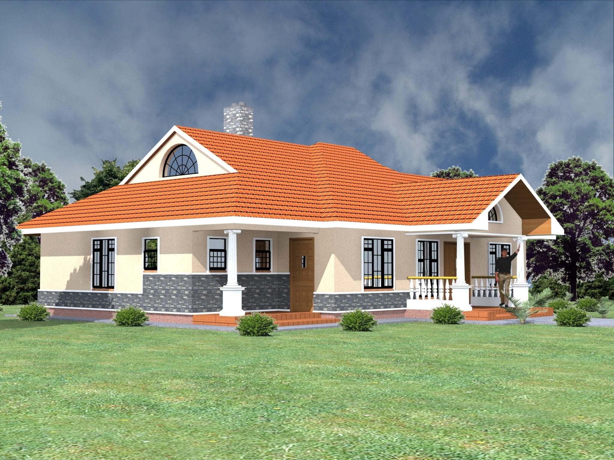 1061 B 61 RENDER 5 - 50+ Modern 3 Bedroom House Plans In Kenya  Pics