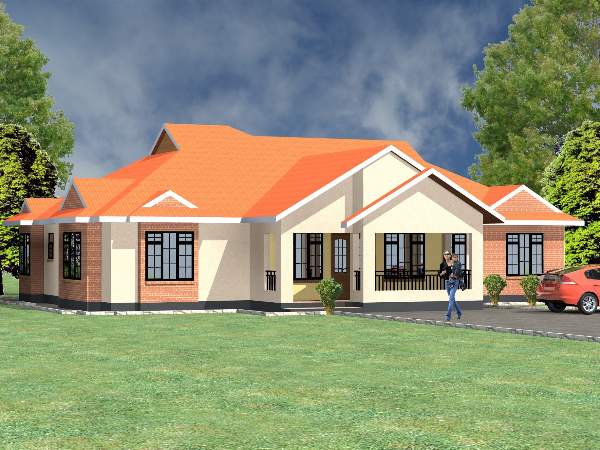 Four bedroom bungalow house plans in Kenya | HPD Consult