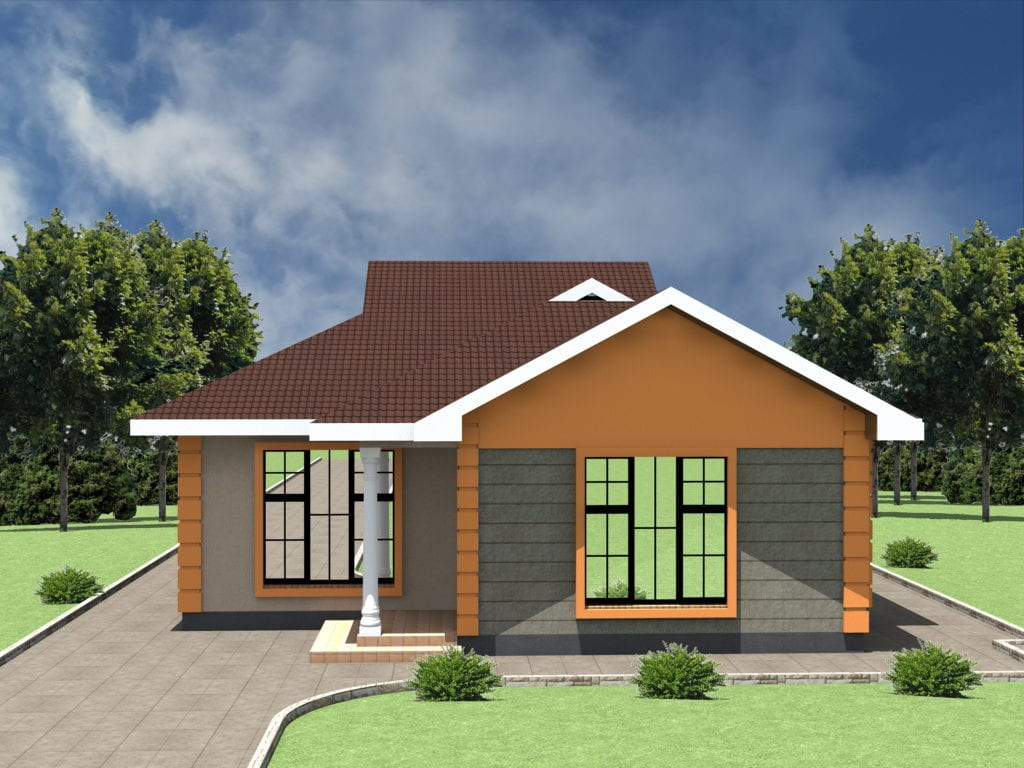 1171 N0.2 RENDER 01 1024x768 - 39+ Small 2 Bedroom House Plans And Designs In Kenya Background