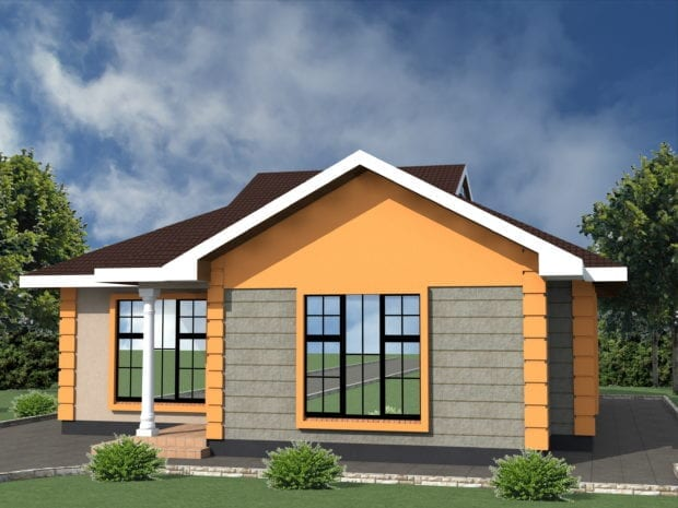 Low cost 2 bedroom house plan in Kenya