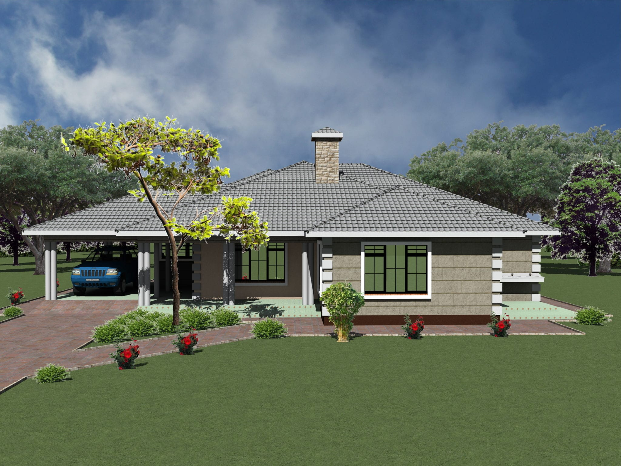 Simple 3 bedroom house plans with garage- HPD Consult