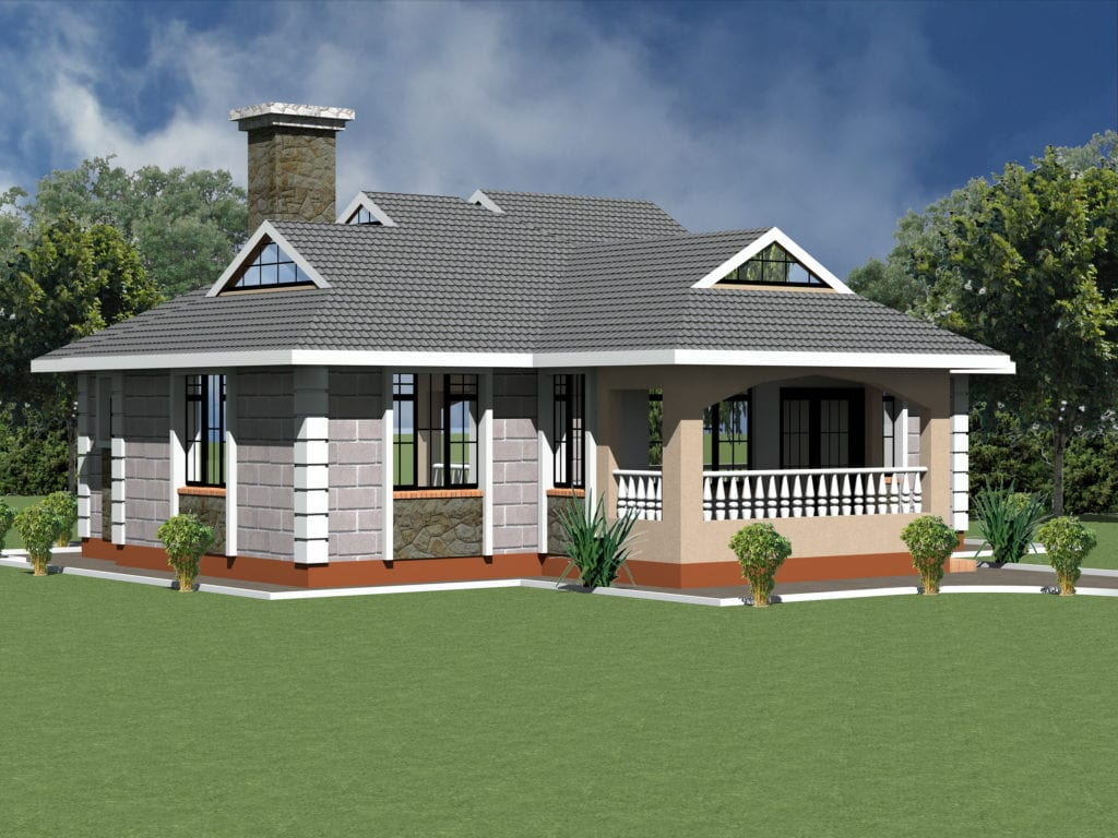 1230 B 30 RENDER 5 1024x768 - Download Small House Low Budget Modern 2 Bedroom House Design Floor Plan Gif