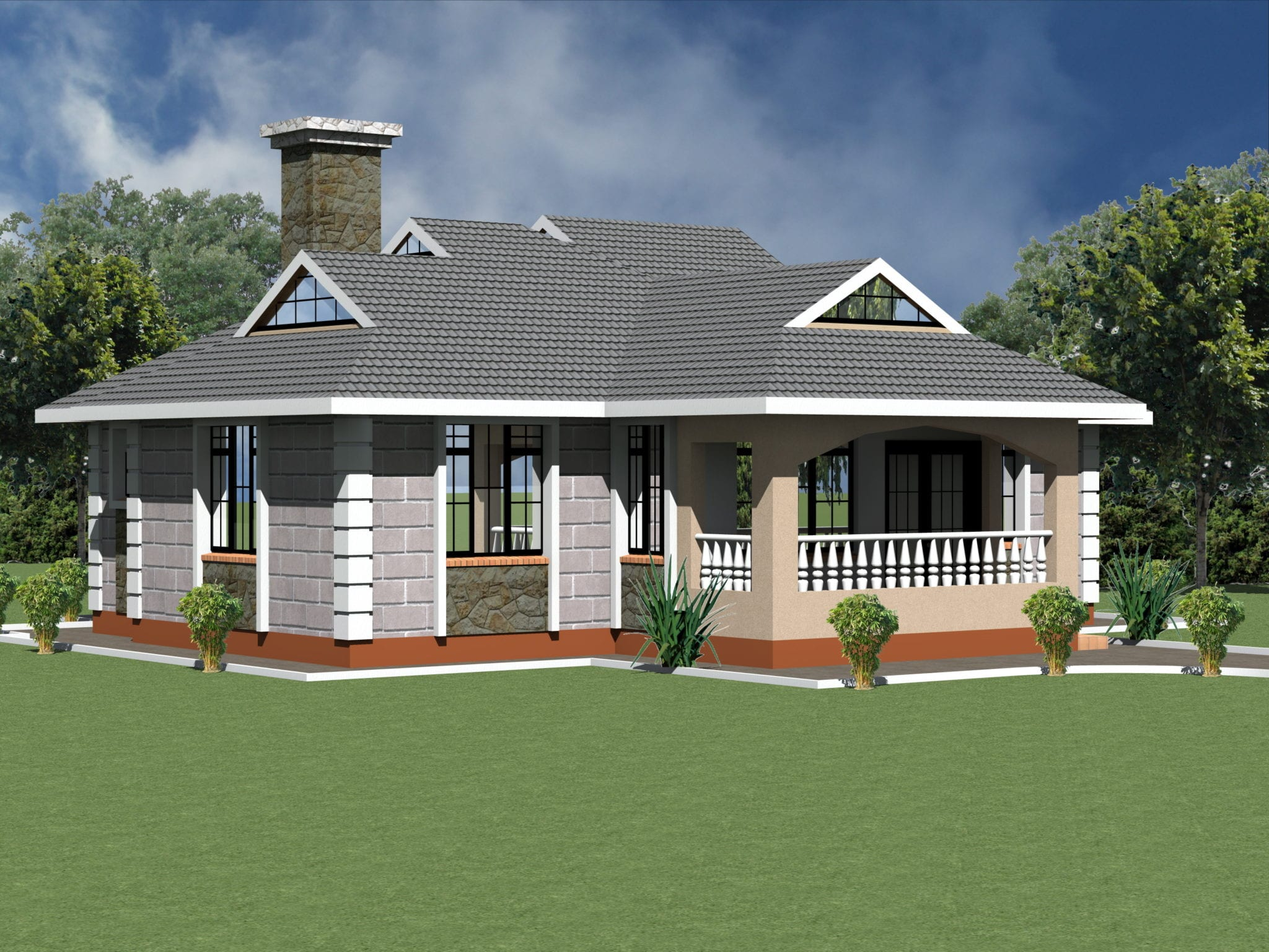 1230 B 30 RENDER 5 - 15+ Low Budget Simple Small Bungalow Modern House Design PNG