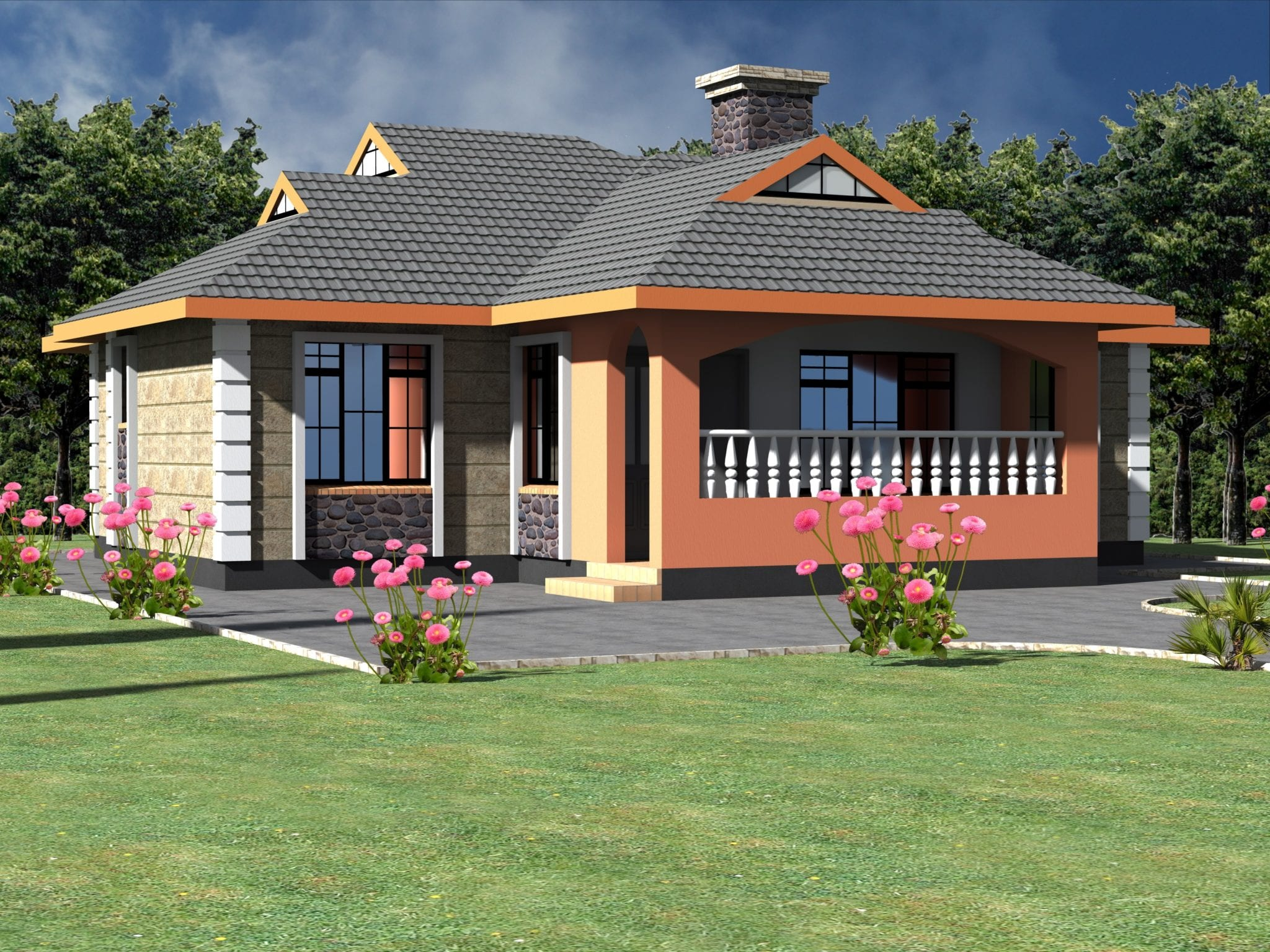 Neatly Designed Simple 3 Bedroom Bungalow House
