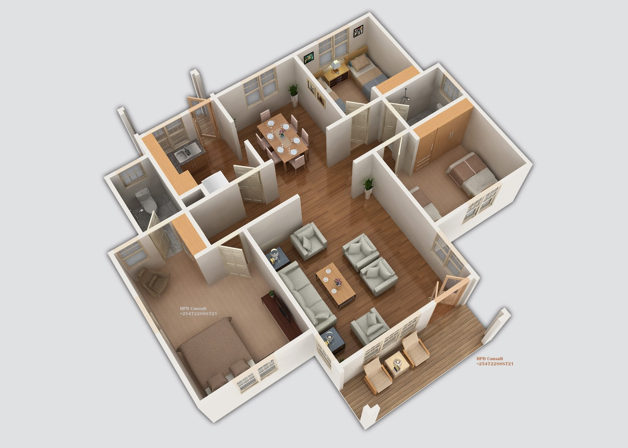 Three Bedroom House Plan With Master Bedroom En Suite