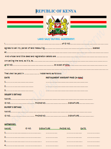 Land sale agreement in Kenya