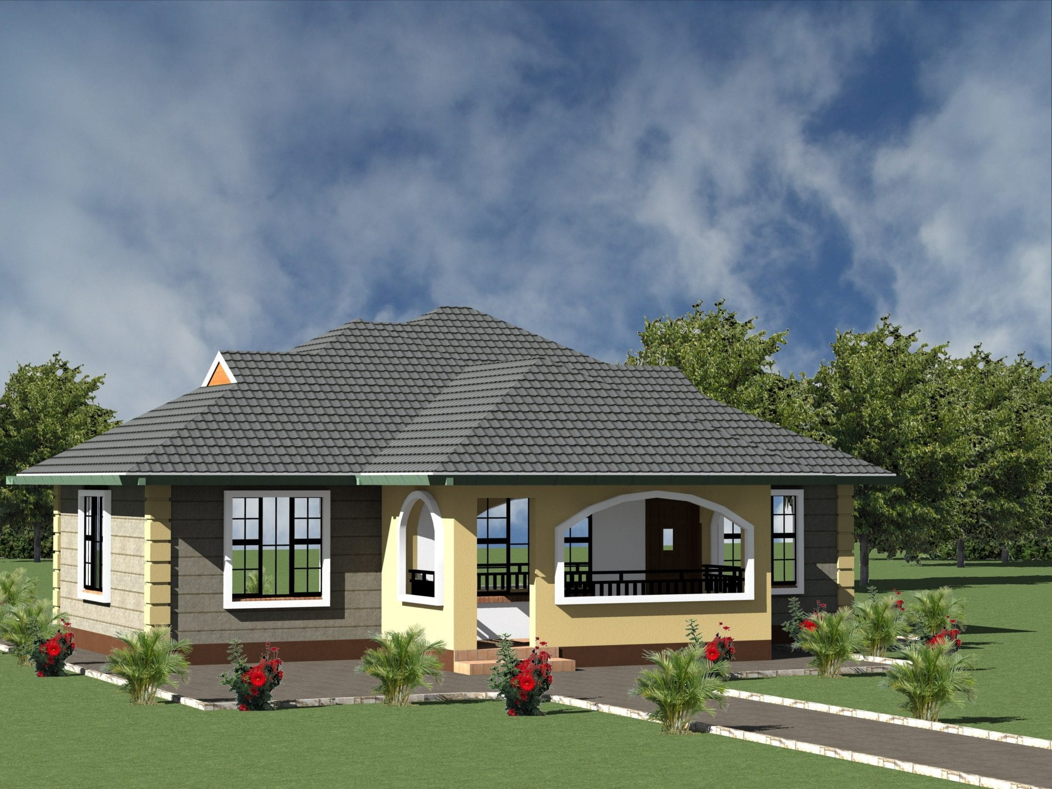 1249 B 49 RENDER 06 min min - 39+ Small 2 Bedroom House Plans And Designs In Kenya Background